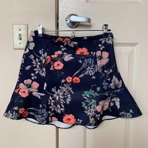 Zara Floral Print Neoprene Skirt